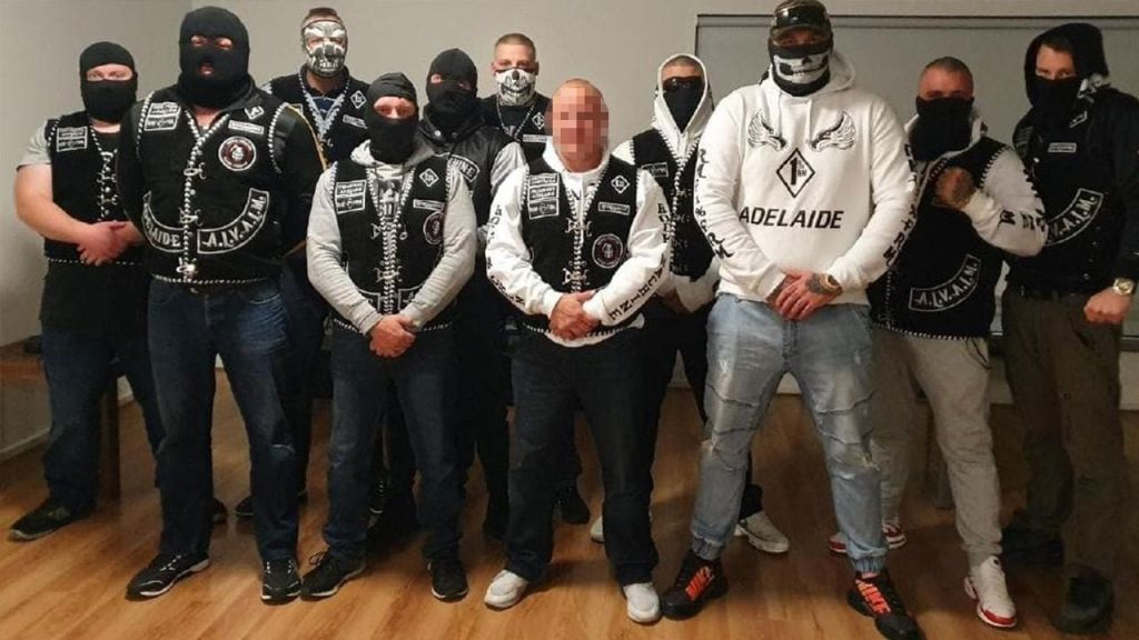 Alexander Illich (centre) pictured with members of the Rock Machine gang in Adelaide.