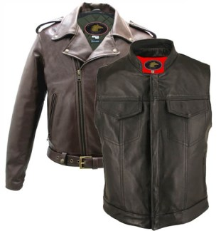 Horsehide Motorcycle Vests and Jackets by Hillside USA
