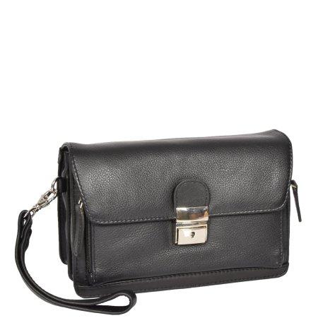 Lockable Leather Wrist Bag HOL584 Black