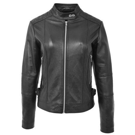 Womens Soft Leather Casual Zip Biker Jacket Ruby Black