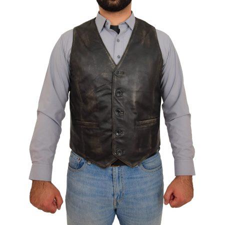 Mens Button Fastening Leather Waistcoat Nick Black Vintage
