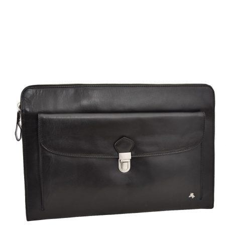 Leather Portfolio Case with front pocket Harvard Black