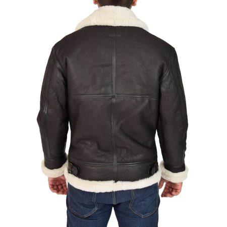 Men's Classic B3 Original Sheepskin Jacket Brown White