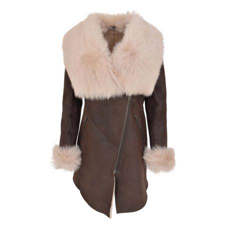 Women's 3/4 Toscana Trim Sheepskin Coat