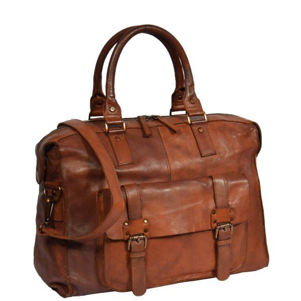 Vintage Leather Lightweight Duffle Bag Tan