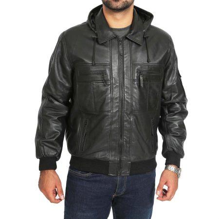 Men's Black Hooded Leather Bomber Jacket
