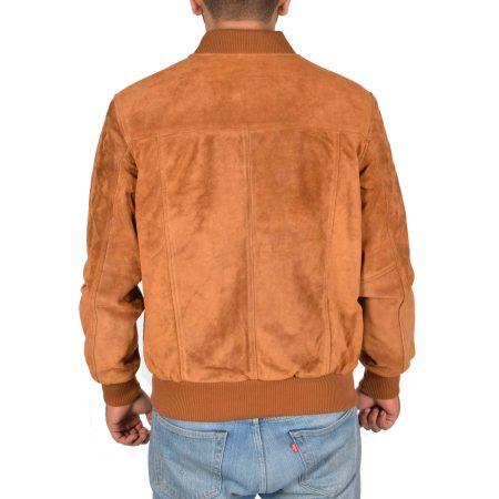 Mens Suede Bomber Varsity Jacket Reg Tan