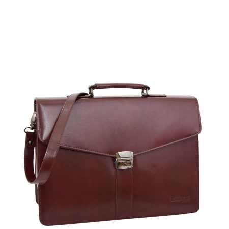 Men's Leather Briefcase Flap Over