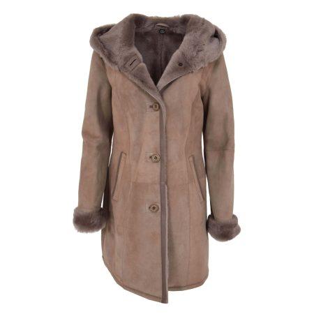 Women's 3/4 Length Sheepskin Hooded Coat