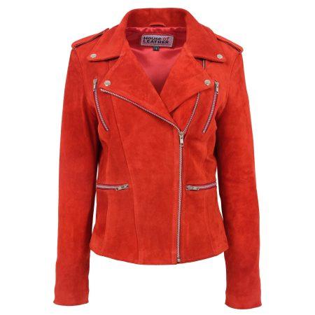 Women's Suede Biker Zip Jacket Skylar Red