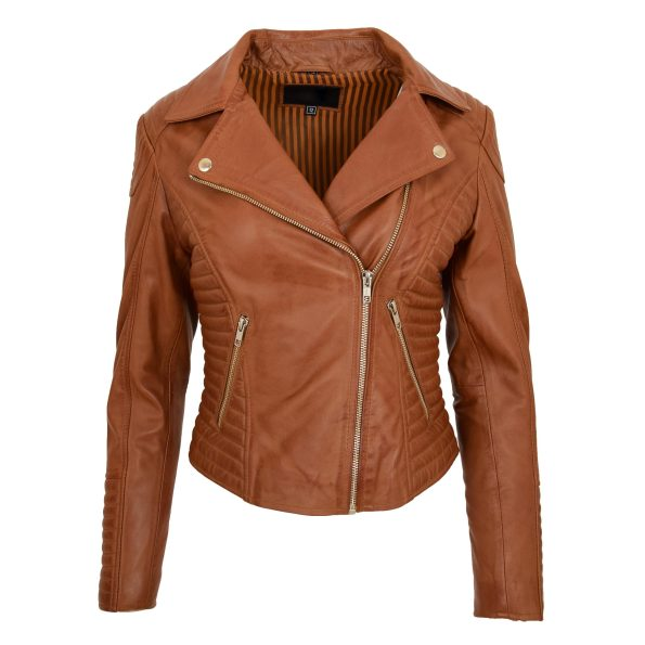 Womens Soft Leather Cross Zip Biker Jacket Anna Tan