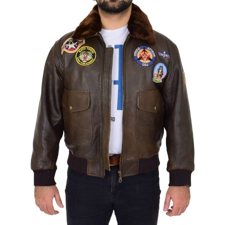Mens Brown Air Force Style Bomber Jacket