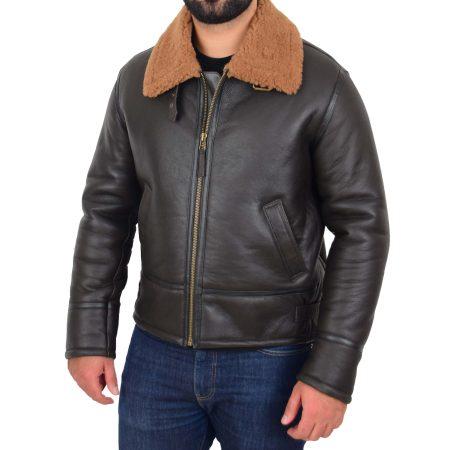 Men's Top Gun Style Sheepskin Jacket