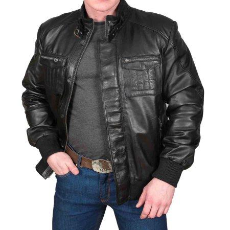 Men's Slim Fit Bomber Leather Jacket