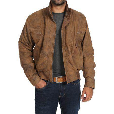 Mens Leather Bomber Blouson Jacket Robert Brown