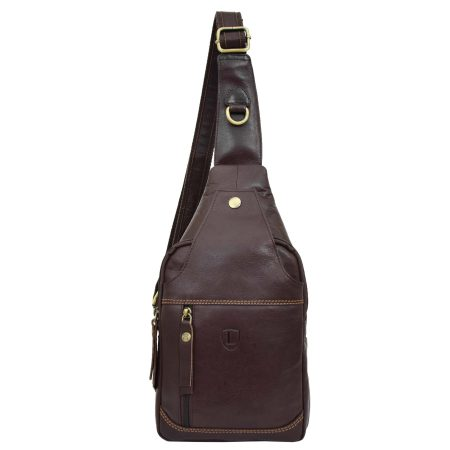 Mens Leather Cross Body Chest Bag Brown