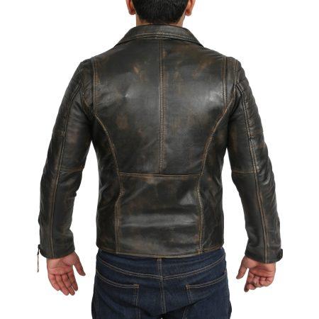 Mens Biker Leather Jacket Dual Zip Hook Rub Off