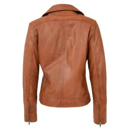 Womens Soft Leather Cross Zip Biker Jacket Lola Tan