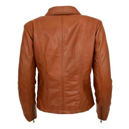 Women's Classic Leather Biker Zip Box Jacket