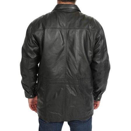 Mens Leather Winter Car Coat Hip Length Jason Black