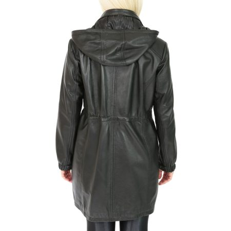 Women's 3/4 Length Leather Duffle Coat Black
