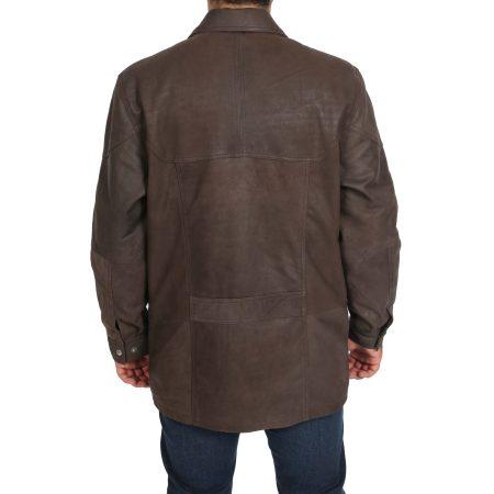 Men's Classic Leather Winter Car Coat M2 Brown