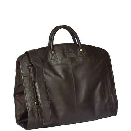 Real Leather Suit / Dress Carrier HOL933 Brown