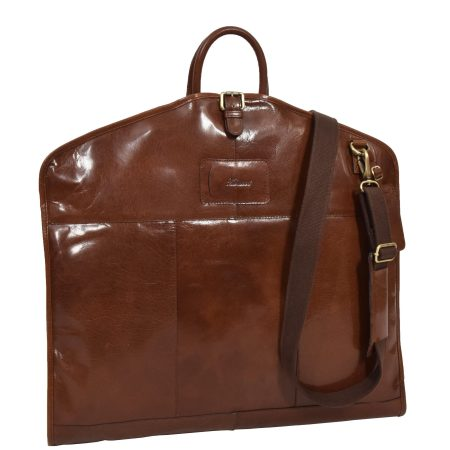 Luxury Leather Slimline Garment Carrier Keswich Tan