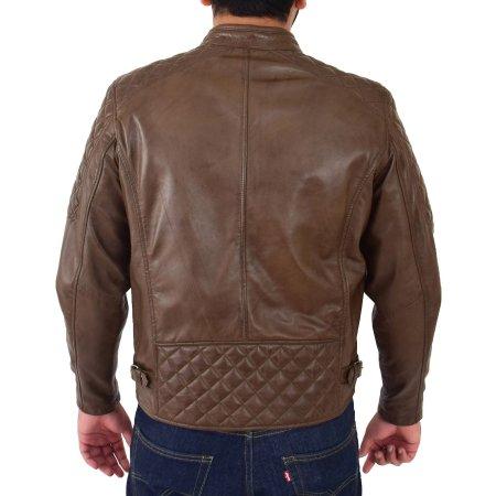 Men's Quilt Biker Style Leather Jacket