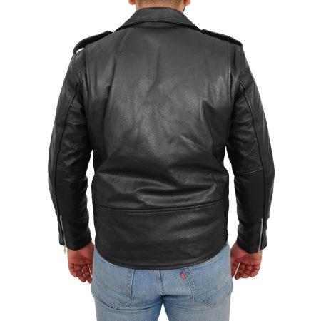 Mens Heavy Duty Leather Biker Brando Jacket Kyle Black