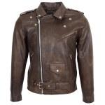 Mens Heavy Duty Leather Biker Brando Jacket Kyle Antique Brown