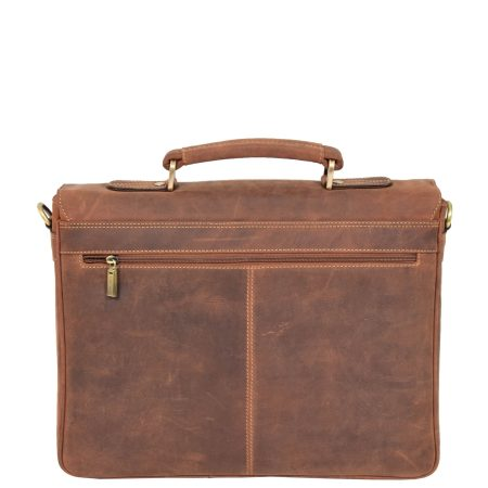 Men's Leather Cross Body Flap Over Briefcase Tan