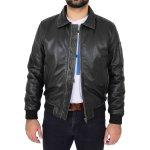 Mens Soft Leather Bomber Aviator Jacket Ricky Black Rub Off