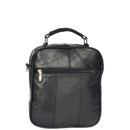 Leather Flight Bag with Grab Handle Black