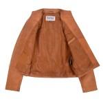 Women's Tan Casual Standing Collar Jacket