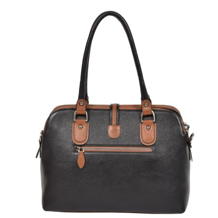 Women's Leather Multi Zip Top Shoulder Bag