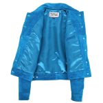 Womens Soft Suede Trucker Style Jacket Alma Teal Blue