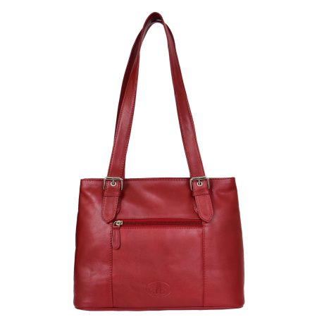 Womens Real Leather Classic Shoulder Bag Ariana Red