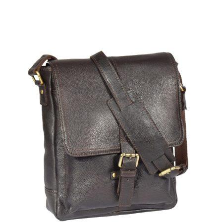 Mens Leather Cross Body Casual Bag Brown