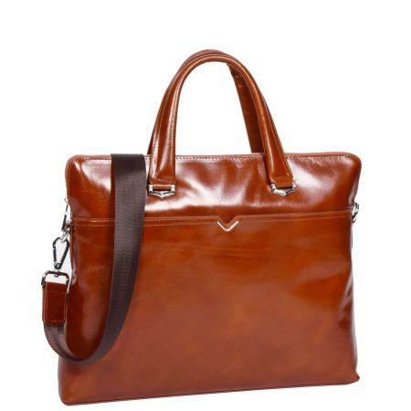 Italian Leather Cross Body Briefcase Tan