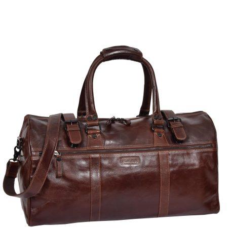 Soft Leather Sports Barrel Bag Porto Brown