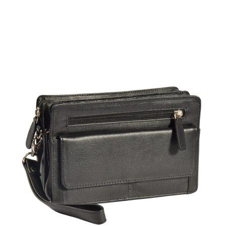 Leather Wrist Clutch Bag Ralf Black