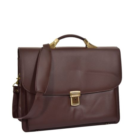 Leather Cross Body Briefcase Brown