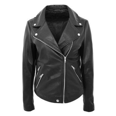 Women's Leather Biker Jacket Cross Zip
