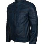 Mens Cafe Racer Quilted Designer Waxed Blue Biker Leather Jacket