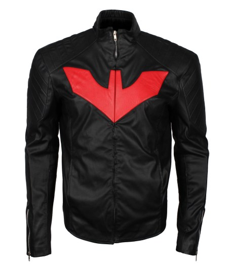 Batman Beyond Red Logo Men Inspired Black Faux Leather Jacket