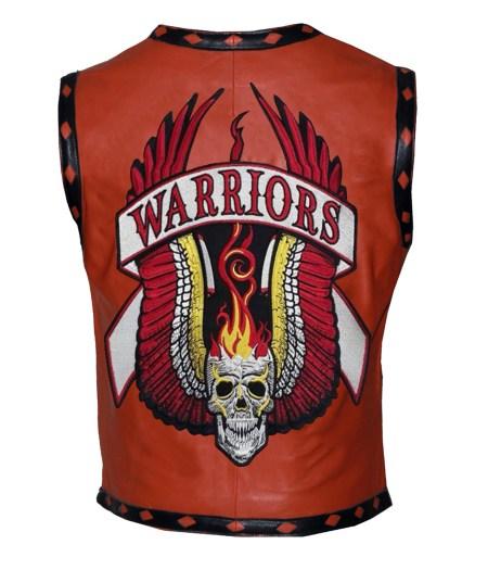 Men The Warriors Movie Orange Biker Faux Leather Vest