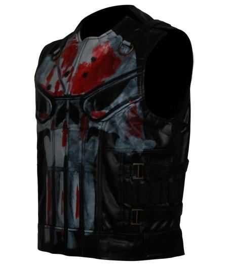 Mens Punisher Season 2 Jon Berthnal Tactical Skull Black Biker Faux Leather Vest Costume