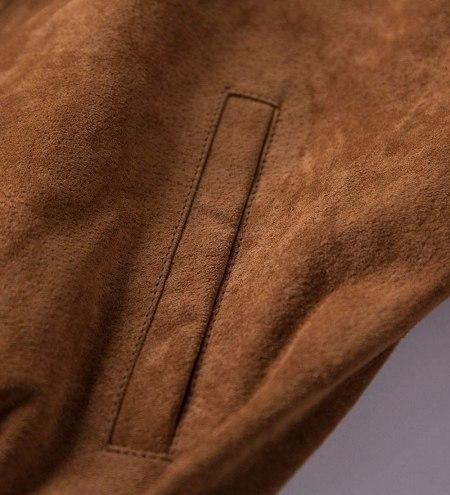 Adamsville Brown Suede Bomber Leather Jacket Mens