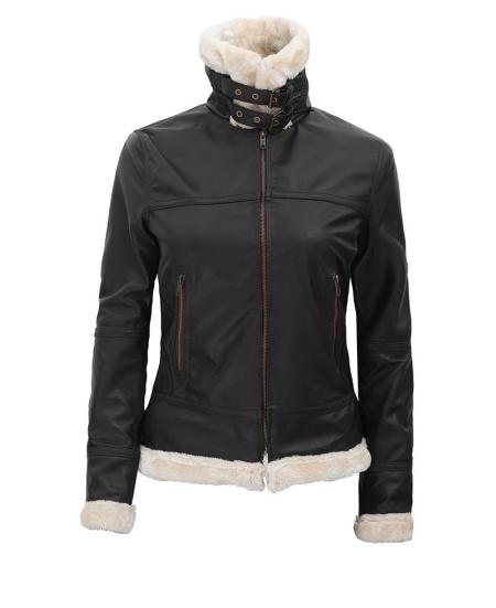Frances B3 Bomber Shearling Brown Leather Jacket Womens